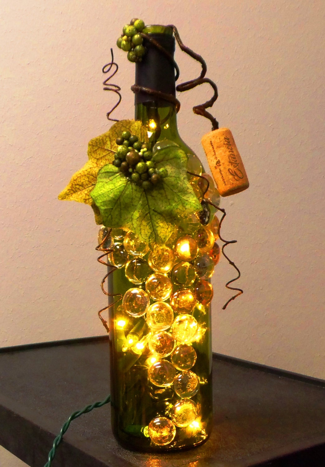 Decorative embellished green wine bottle light with glass for Glass bottles with lights in them