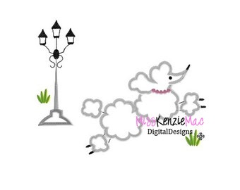 Paris Poodle Dog Machine Applique Embroidery Design, Mulitple Sizes