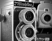 vintage cameras black and white art photo, Polaroid  Ricohflex, photographer gift, retro wall decor, vintage art
