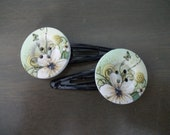 Floral Cream and Green Button Hair Clips