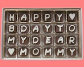 Mom Gift Mommy Mother in Law Mummy Mum Birthday Gift from Daughter Son Happy B Day To My Dear Mommy Cubic Chocolate Letters Unique Idea