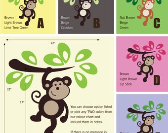 Monkey Wall Decals - Jungle Wall Stickers - Safari Wall Decals
