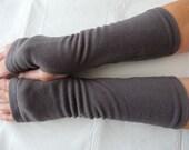 Dark Gray Fleece Fingerless Gloves,  Charcoal Grey Fingerless Glove, Arm Warmer, Cycling Glove, Texting Glove, Driving Glove, Hand Warmer