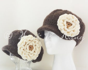 Wool Felted Shabby Chic Matching Mother Daughter Newsboy Hats