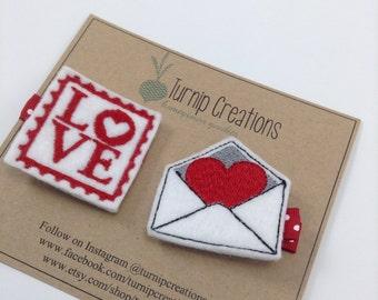 Valentines Hair Clip Stamp & Love Letter Felties Felt Hair Clip Feltie Hairclip Red Hair Clips