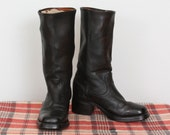 Black Leather Campus Boot  mens 9 womens 11