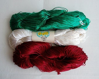 Vintage Embroidery Silk Floss, Green White Red Needlepoint Skein