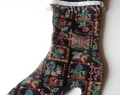 Vintage Upholstery Fabric High heel boot Christmas Stocking