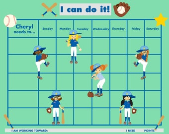 PRINTABLE PERSONALIZED Child Reward/Chore Chart - Girls' Baseball