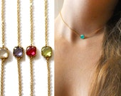 Choker necklace.  bezel stone necklace, in gold or silver. Tiny square crystal quartz.  choice of colors. Adjustable length