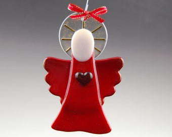 Red Guardian Angel Christmas Ornament- Fused Glass Original