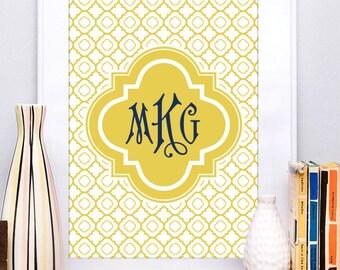 Custom Monogram Art Print , Monogram Art Print