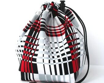 Drawstring bag - small reversible - knitting bag - red/black plaid & sheep
