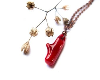Coral Branch Necklace, Rustic Red Coral Jewelry, Boho Red Coral Necklace