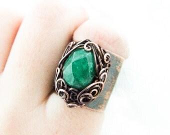 Elvish Ring, Lethe Ring, Big Statement Elvish Ring, Green Wire Wrapped Copper Ring, Big Green Elvish Ring