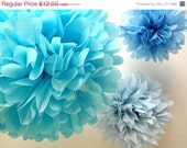 Birthday Party Decorations ... Paper pompoms  ... 3 Poms // Frozen Elsa Cinderella // Blue Winter Wedding Decor // Cake Smash