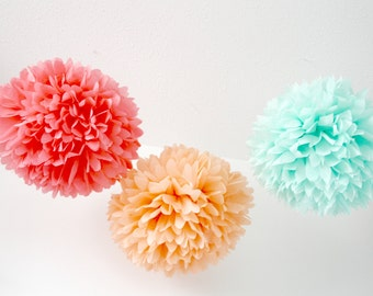Melon Ball Paper Pompom Decorations - Watermelon Birthday Party, Coral Peach Mint Baby Shower Decor, Summer Wedding, Tropical Bachelorette
