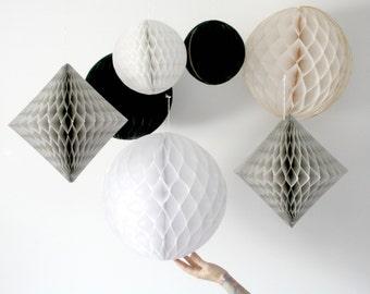 Wedding Decor . New Years Eve . Geometric Honeycombs  . Nursery Mobile .Black White Grey . Photography Backdrop . Ceremony Decorations