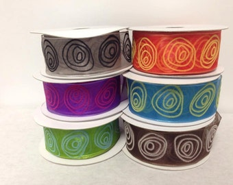"10 yards of 1.5"" Sheer Wired Ribbon with Raised Colored Velvet Swirls"