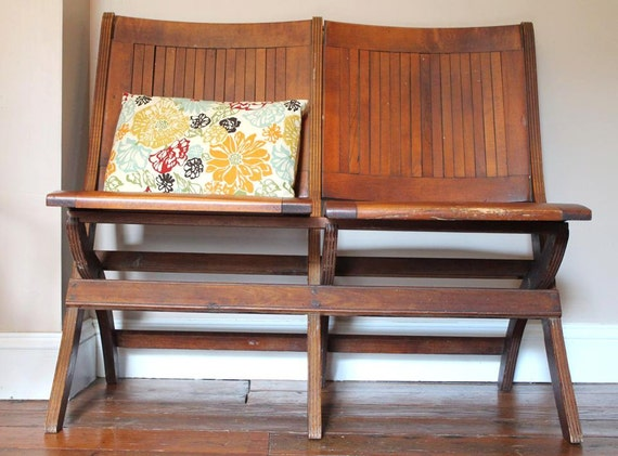Folding Foyer Bench : Vintage wood slat folding theater bench