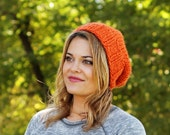Knitted Slouchy Hat in Pumpkin Orange - Sizes Toddler, Child and Woman- Other colors available