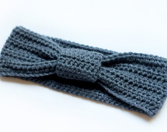 SALE- 35% off- Bow Knotted Headband, Turban Headband, Ear Warmer, Wrap in Color Gray for Women