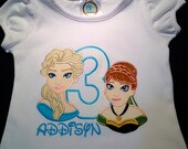 Embroidered T shirt Disney design Elsa & Anna from Frozen