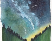 Original Watercolor Night Sky Painting, Galaxy Painting, 8x10 Artwork, Constellations, Northern Lights Art