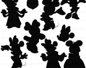 Minnie Mouse Silhouettes Clipart Clip Art Digital Scrapbooking Commercial Use - printable clipart - Instant Download  - DP321