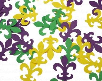 100 Carnival Mardi Gras Fleur De Lis confetti punch die cut scrapbook embellishments - No235