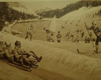 "Print ""Winter Sports In Canada""  Vintage LG Educational Print Sepia Charcoal Tones  10 x 15 Snow Sledding  Skating Mountains"