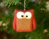 Needle Felted Owl Christmas Ornament holiday decor eco friendly woodland tree