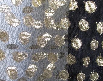 1960s MOD Go-Go Black Dress with gold polka dot overlay, made in California