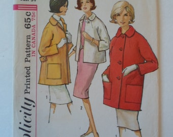 Vintage  1964 Simplicity  jacket in 3 styles patch pockets  sewing pattern