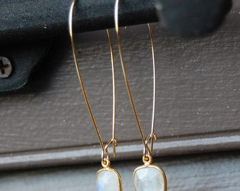 Faceted Moonstone in Gold Vermeil Bezel Necklace