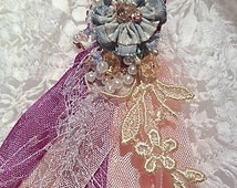 BLUSH ROSE TASSEL. Shabby Chic Seam Binding Passementerie, Vintage Lace Applique, Beaded Ribbon Flower, Tassel Ornament,