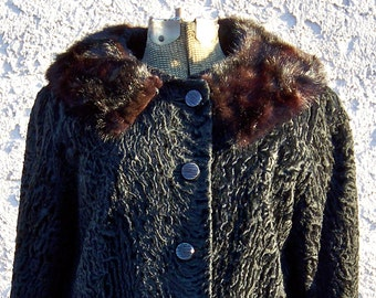 Vintage Persian Lamb Jacket Mink Collar Genuine Persian Lamb Curly Lamb Hair Designer Short Jacket Black Winter Coat Vintage 1950s