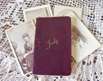 Antique Memo Book 1907 Leather Datebook July Calendar Pocket Size Daily Journal Recipes Daily Diary Advertisement