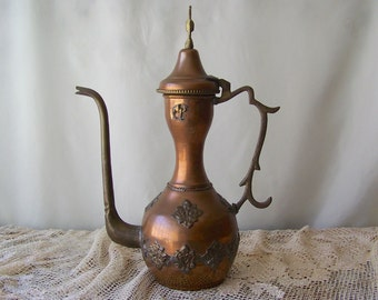 Antique Turkish Copper Teapot Handcrafted Primitive Tall Tea Pot Turkey Hand Forged Copper Home Decor Brass Camel Vintage 1930s