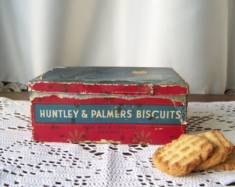 Vintage Huntley & Palmers Biscuit Tin Milk and Honey Kitchen Tin Reading London England Tin Collector Circa 1910s
