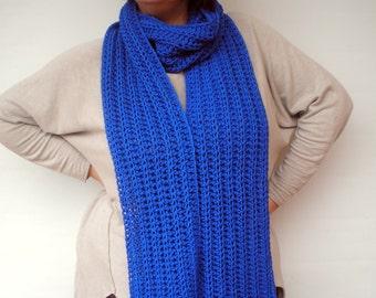 Royal  Blue Scarf CrochetedMerino Wool Scarf Woman /Men Scarf Long  ScarfNEW