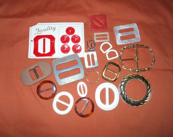 Red buttons and buckles on card Other vintage belt buckles Destash