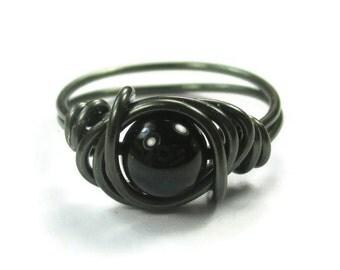 Gothic Jewelry - Black Onyx Ring Wrapped In Gunmetal