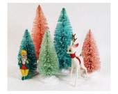 Hand Dyed and Glittered Bottle Brush Christmas Trees - Vintage Cottage Chic Holidays - 5 Trees 9 inch and 6 inch