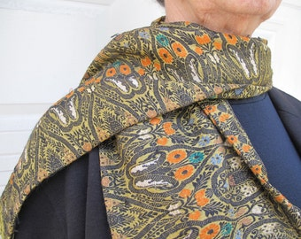 Unisex Silk Scarf  from Antique Benares Brocade Sari with Silk Fringe by the Old Silk Route