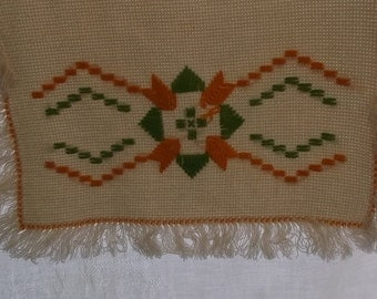Vintage Linen Table Runner or Dresser Scarf, Beige Loose Weave Linen with Orange and Green Embroidery with Fringe Edge