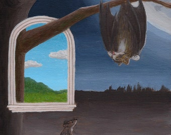 Bat Cat and Mouse - Original Surreal Painting 8x10 bat cat hanging from tree and a mouse