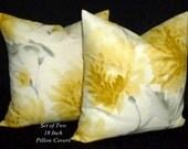 Pillows, Decorative Pillows, Throw Pillows, Accent Pillow, Pillow Covers - Colors include Grey, Shades of Yellow and Ivory.