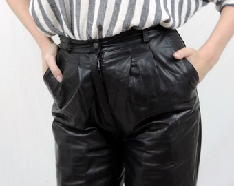 80's Vintage Leather Pleated Pants, small
