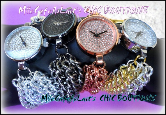 Multi Strand Chain Link Pave Crystal Rhinestone Statement Watch Bracelet-  WATCH-LET #2